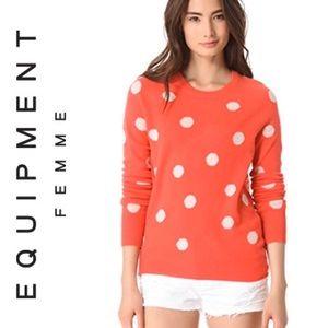 Equipment Sloane Peach Cashmere Polka Dot Sweater